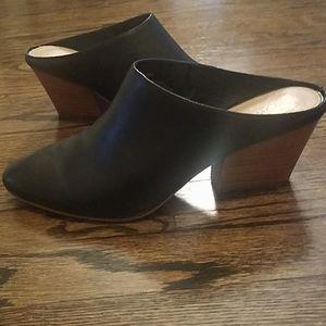 Halogen leather black block heel mules size 8.5